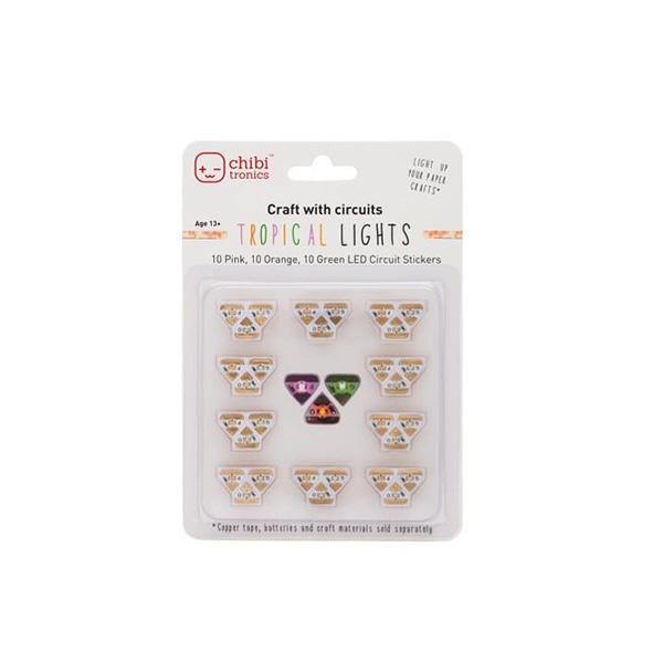【chibitronics/チビトロニクス】 LEDステッカー-TROPICAL LIGHTS(ピンク、オレンジ、グリーン)